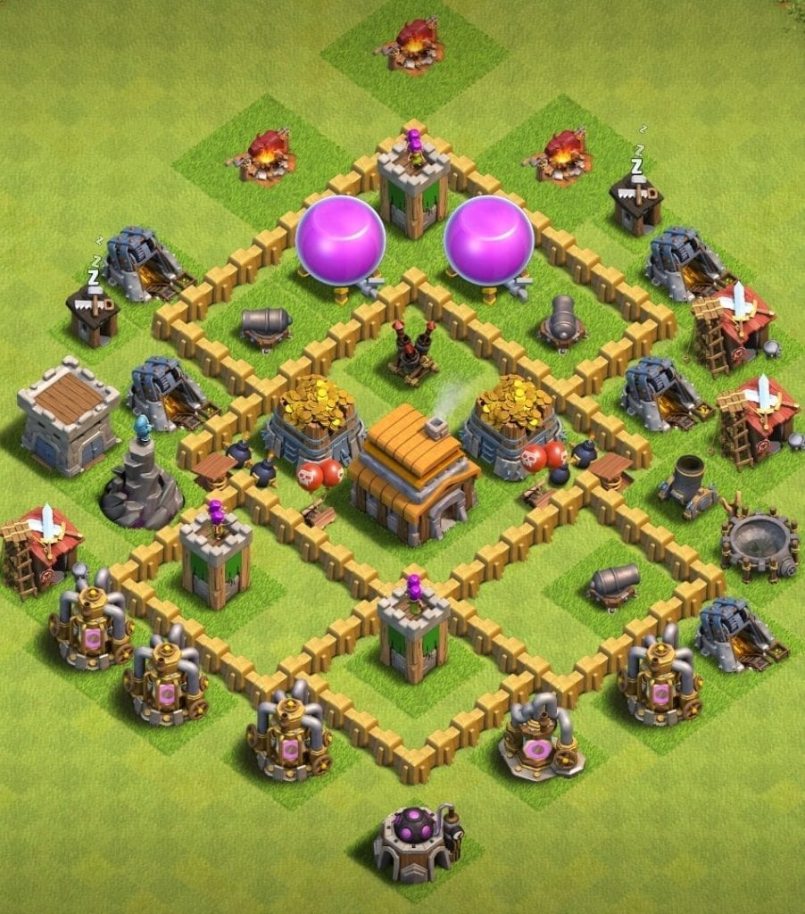 Town Hall 5 base anti 2 star.