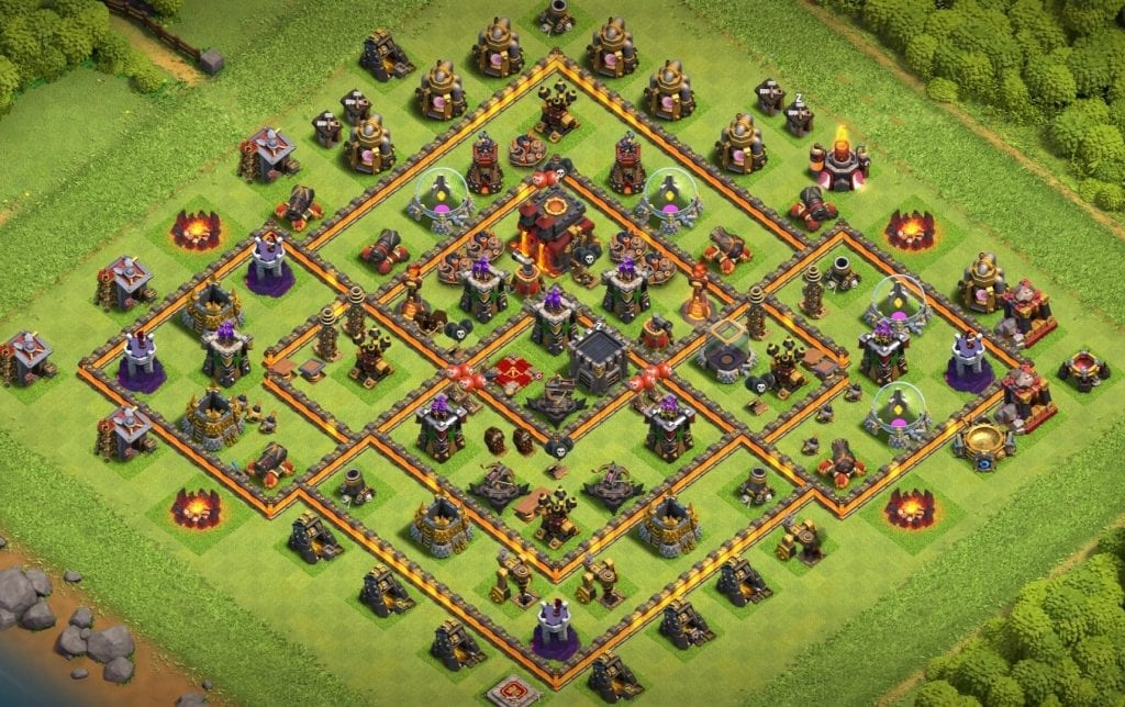 town hall 10 defense base