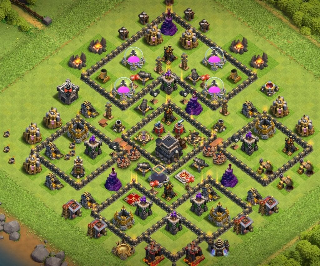 town hall 10 defense base